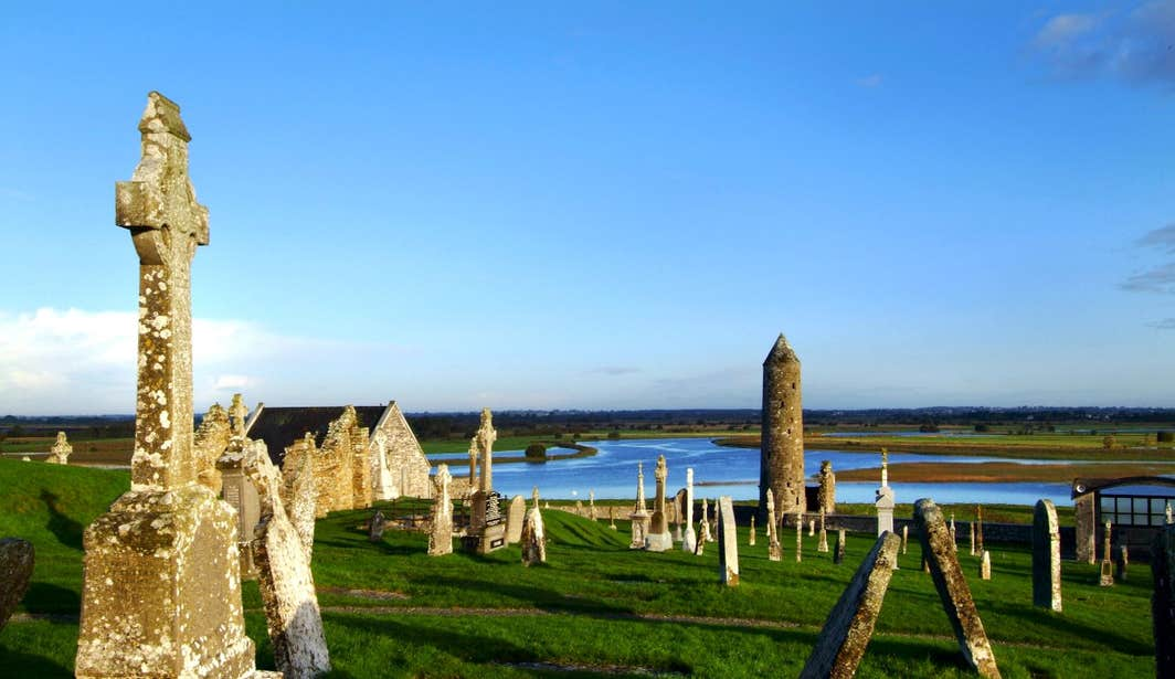 Headstones and a tower at Clonmacnoise, Co. Offaly
