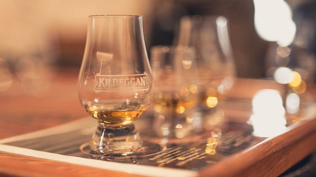 A glass of whiskey at Kilbeggan Distillery Experience