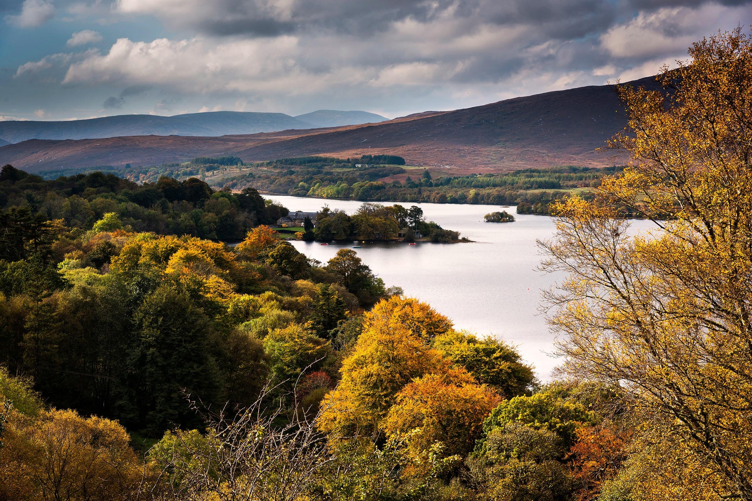 View over the lake and mountains in the distance at Glenveagh National Park, County Donegal.