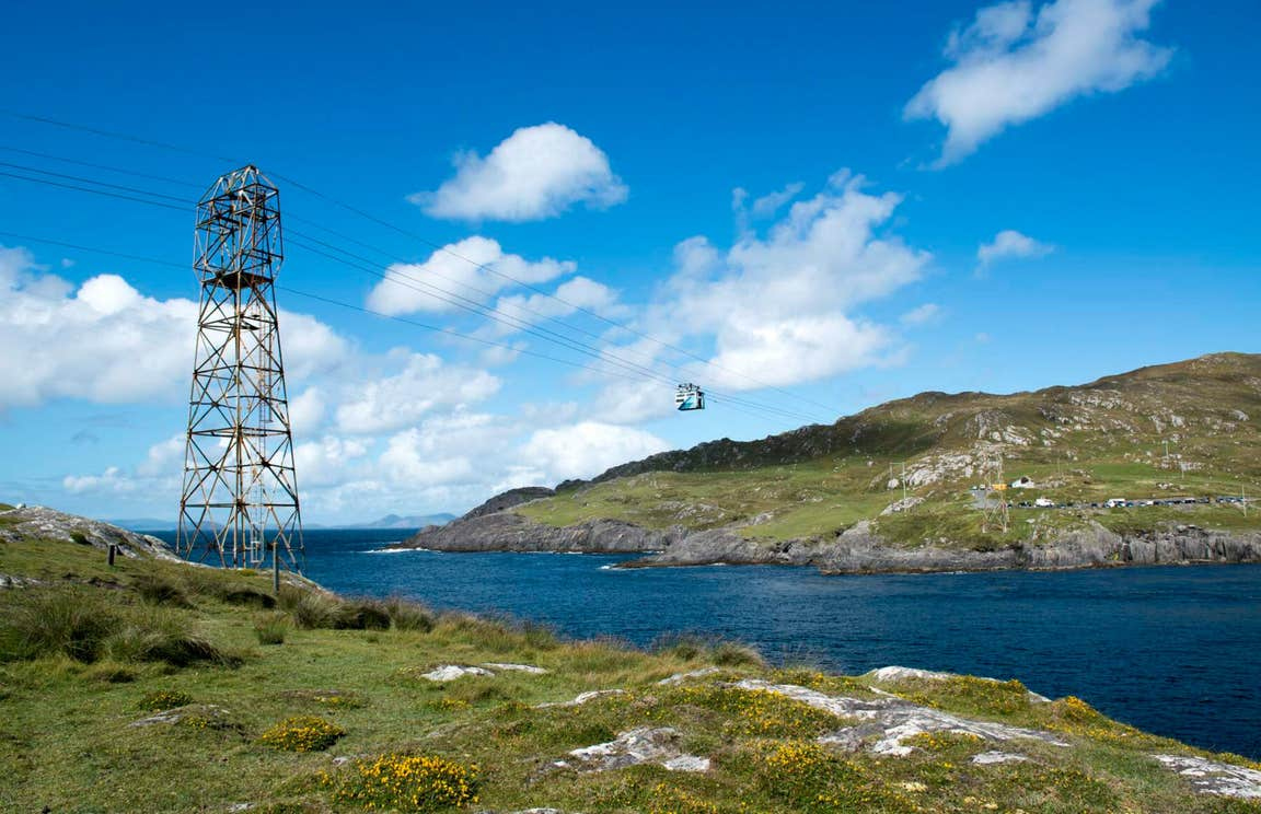A cable car making its way across the water to Dursey Island