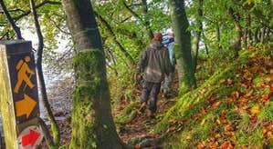 A walker on the loop around Lough Meelagh