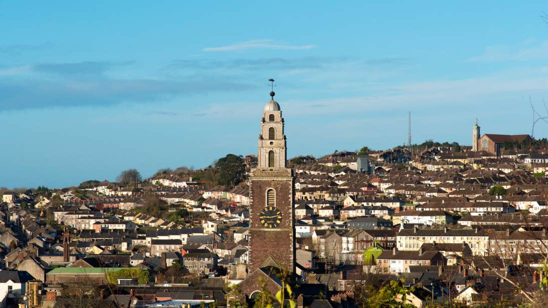 Rooftops below Shandon Bells Tower, St Anne's Church, Cork City, Co. Cork on a sunny day.