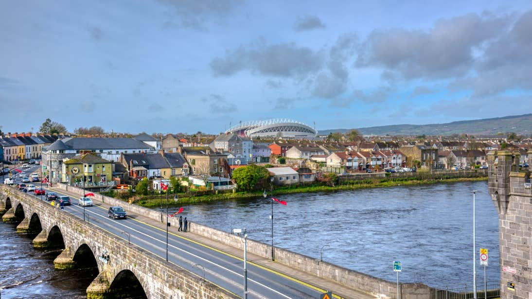 Blue skies and clouds over Thomond Park