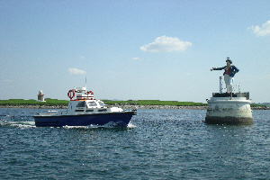 Sligo Boat Charters on the water near the Rosses Point Metal Man in County Sligo.