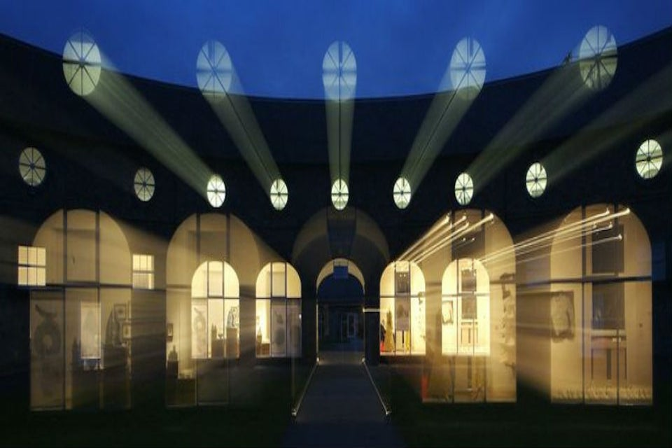 A night-time shot of the National Design & Craft Gallery, Castle Yard, Kilkenny