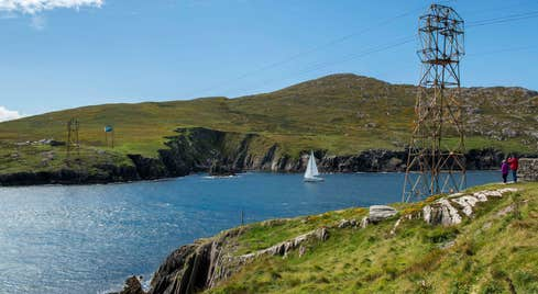 People enjoying the views of Dursey Island and cable car, County Cork