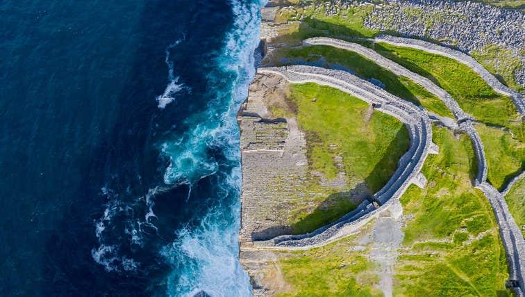 Aerial shot of the Dun Aengus, Inishmore, Aran Islands, County Galway
