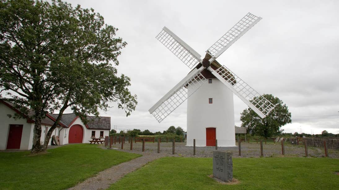 The large white Elphin Windmill with a red door beside a tree in Roscommon