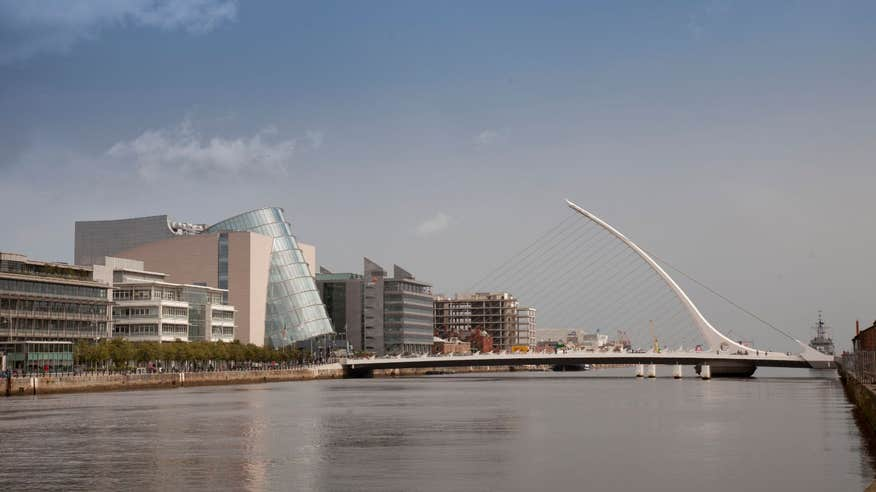 The Samuel Beckett Bridge is one of the more modern bridges spanning the River Liffey.