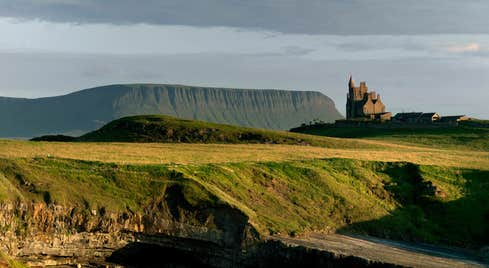 Mullaghmore Head and Classiebawn Castle with Benbulben on the back,  County Sligo