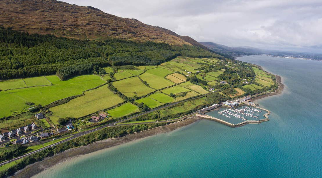 Aerial view of Carlingford Lough and Greenway