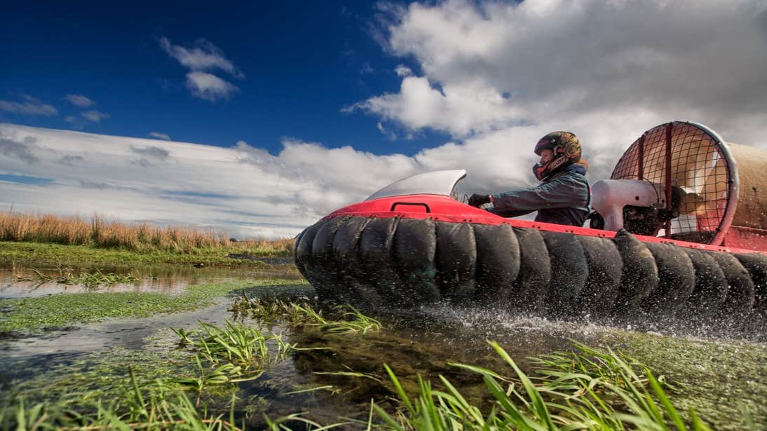 Person driving a hovercraft in Carrick-on-Shannon, Leitrim