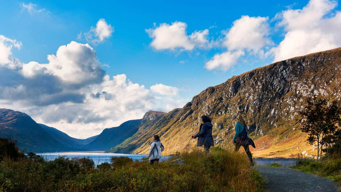 A group of friends walking through Glenveagh National Park, Co. Donegal