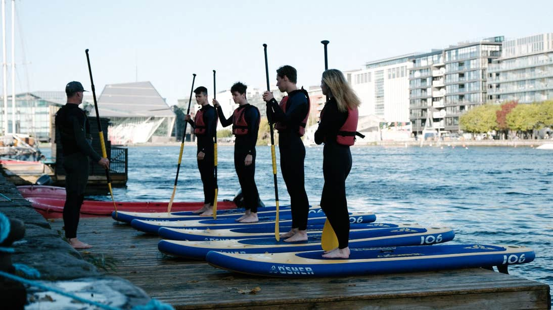 A group of people stand-up paddleboarding in Grand Canal Dock, Dublin