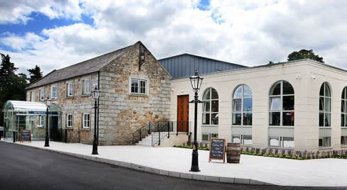 The stone exterior of Powerscourt Distillery in Wicklow