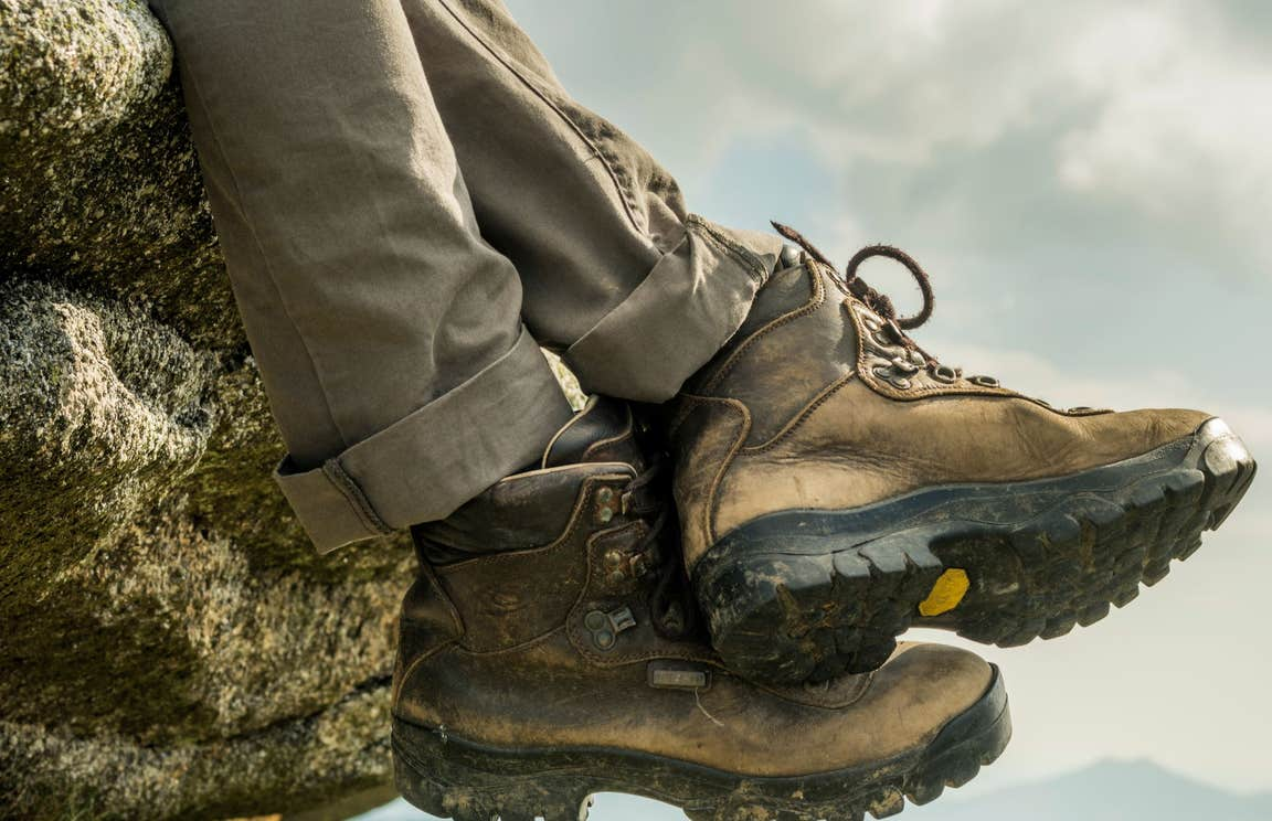 A pair of brown Hiking boots on Suck Way in Roscommon