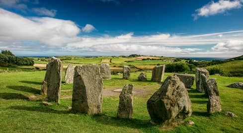 Drombeg Stone Circle, near Glandore, County Cork on a sunny day.