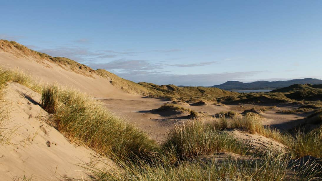 Large sand dunes and clumps of grass at Shelly Valley, Strandhill, Co Sligo