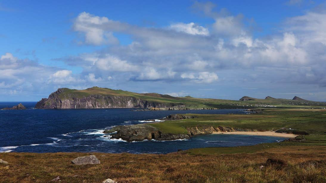 Green spaces and golden beach by the sea at Ceann Sibeal, Kerry