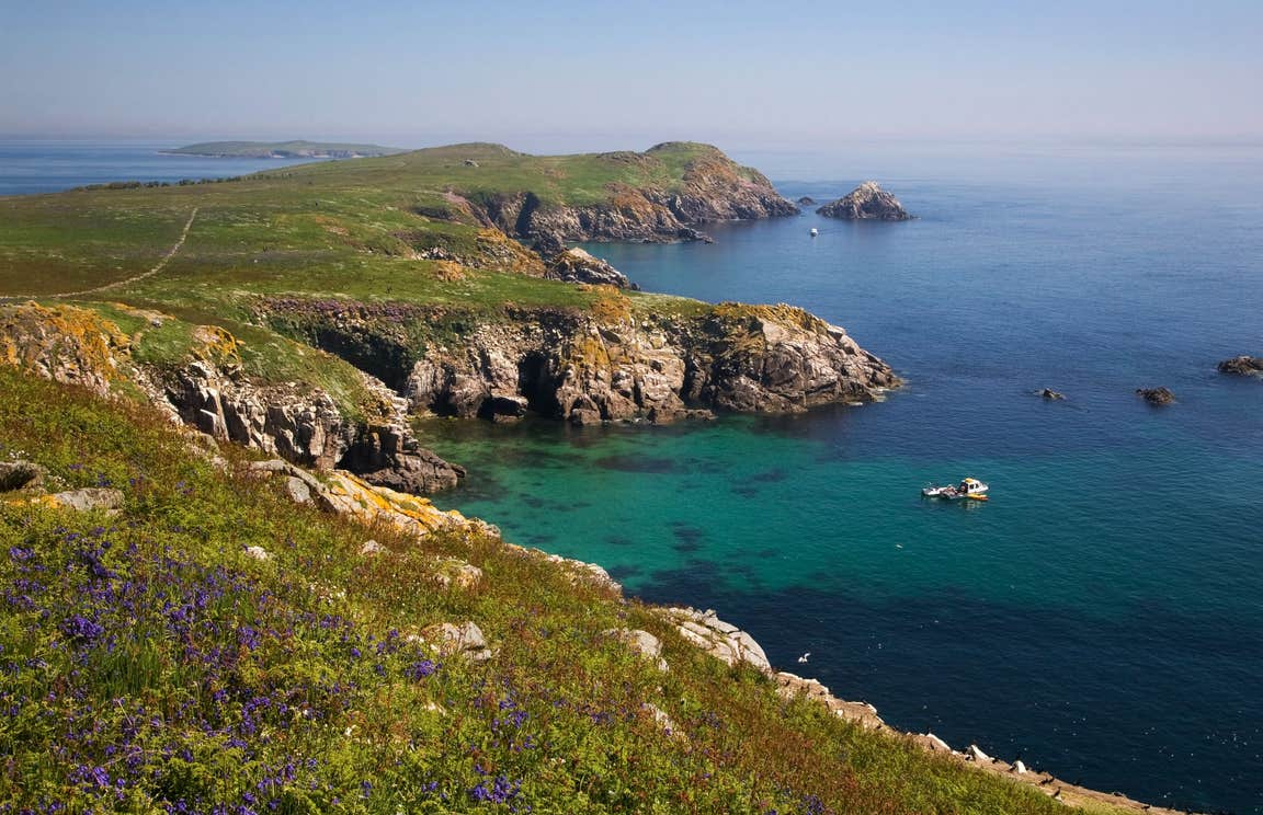 Green hills and blue sea at Saltee Islands, Wexford