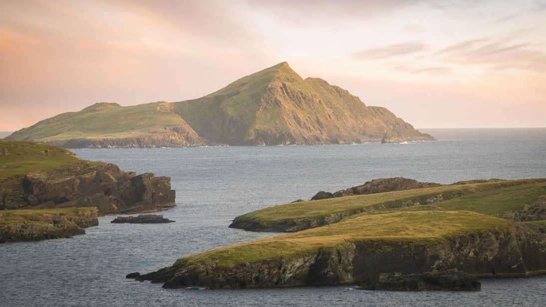 Looking out to the sea and islands from Valentia Island, County Kerry