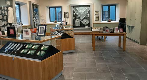 The interior of the shop at Carrickmacross Lace Gallery