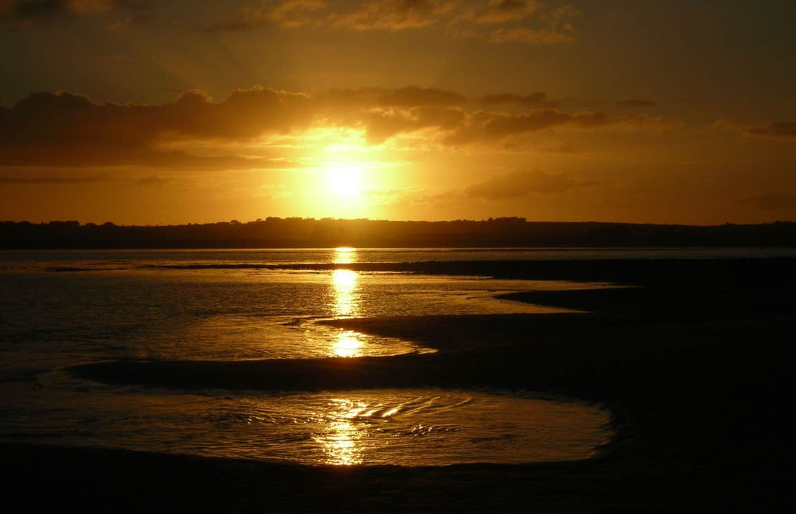A beautiful golden sunset at Strandhill Beach, Sligo