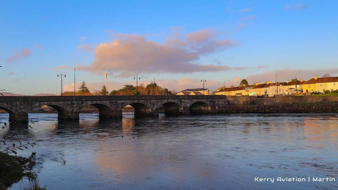 A row of houses beside the river and bridge in Killorglin, Kerry