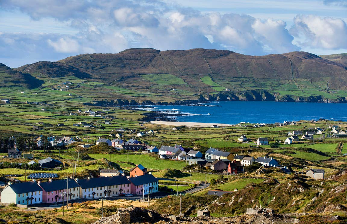 Colourful houses by the sea on Allihies Trail in West Cork