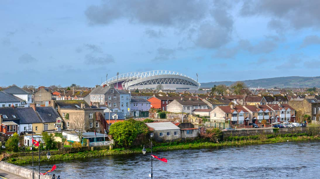 River view with a backdrop of Limerick City and Thomond Park at a distance