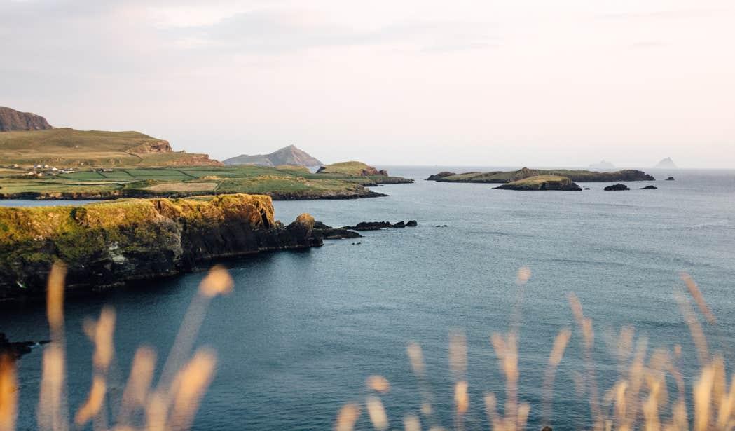 Sun shining on Bray Head on the coast of Valentia Island, Kerry.