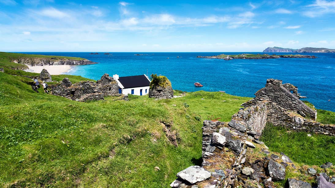A white cottage beside the sea on the Great Blasket Islands, Kerry