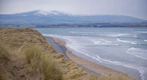 Sand dunes and mountain views at Strandhill Beach in County Sligo