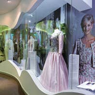 Dresses on display inside Newbridge Silverware - Museum of Style Icons, Kildare.