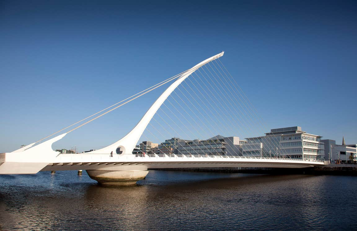 The white and modern Samuel Beckett Bridge, Dublin