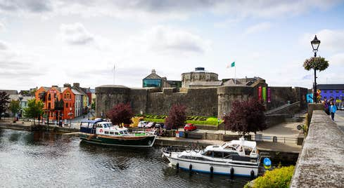 Looking at boats on the River Shannon from a bridge in Athlone County Westmeath