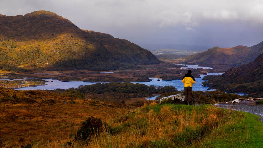 A person admiring the landscape at Ladies View in Killarney National Park, Kerry.