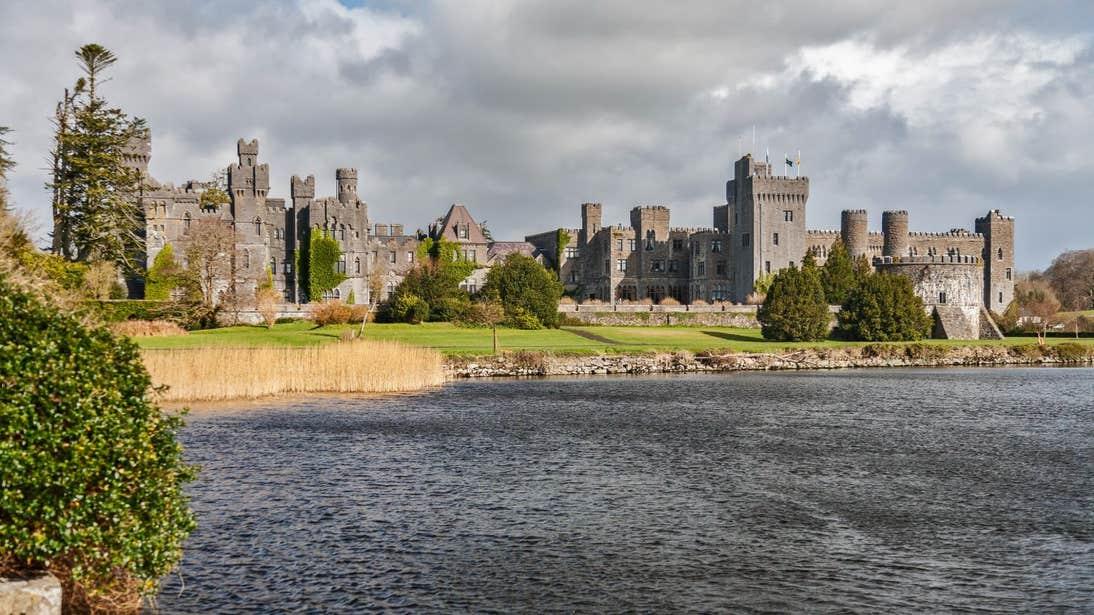 Ashford Castle beside the water in Galway