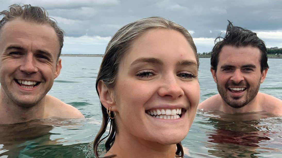 Niamh Cullen swimming in Dublin with two friends.