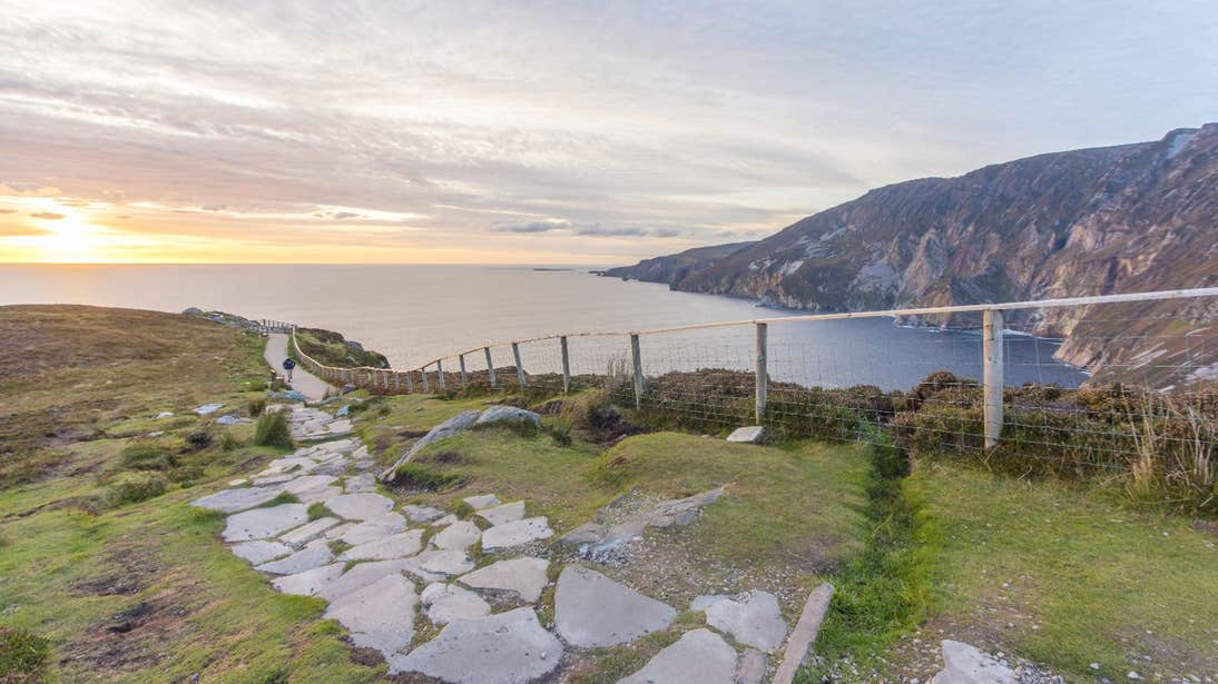 Stone path along the edge of Sliabh League Cliffs, Co. Donegal
