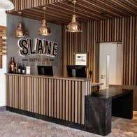 The wooden interior of the bar at Slane Distillery, Meath