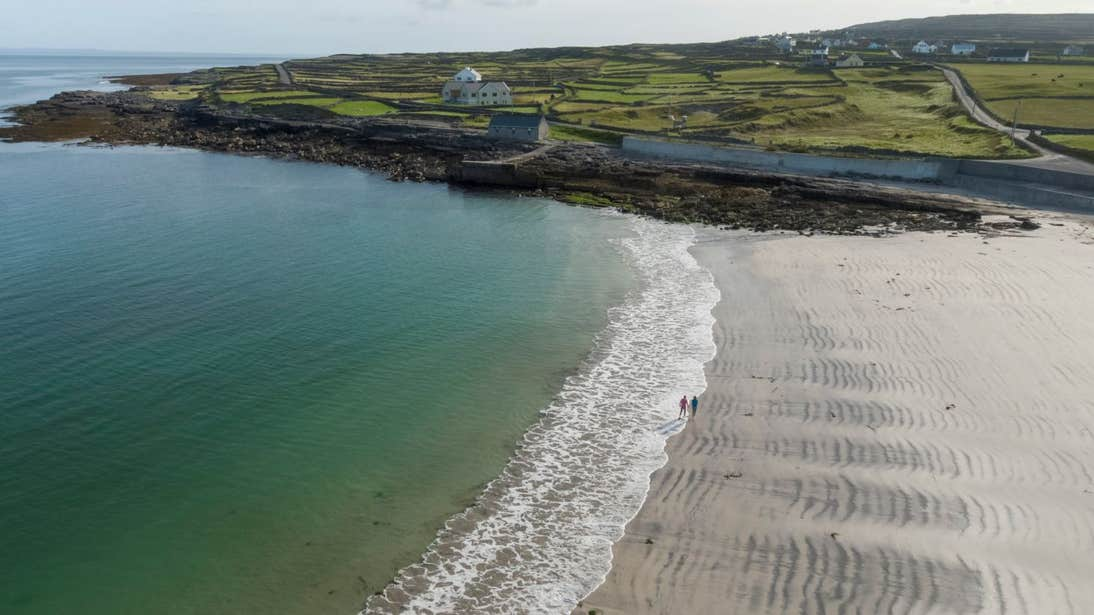 View of Kilmurvey beach on a sunny day on the Aran Islands, Co. Galway