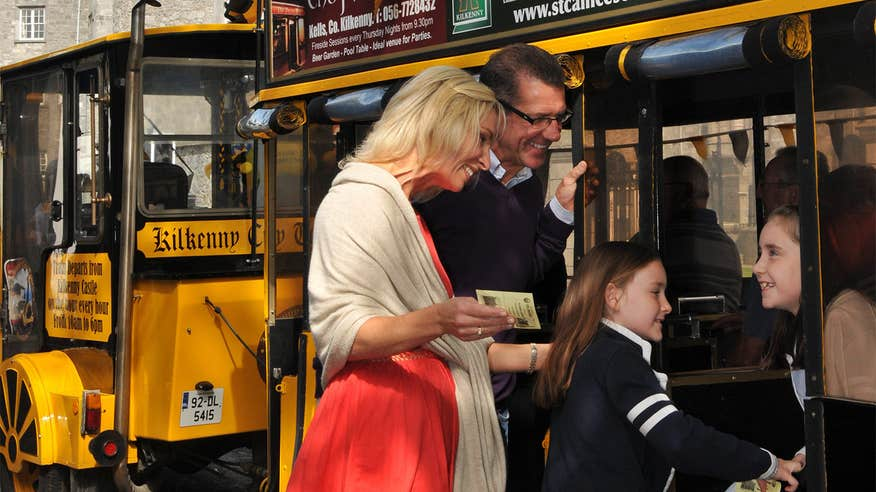 Take the family for a ride on a road train in Kilkenny.