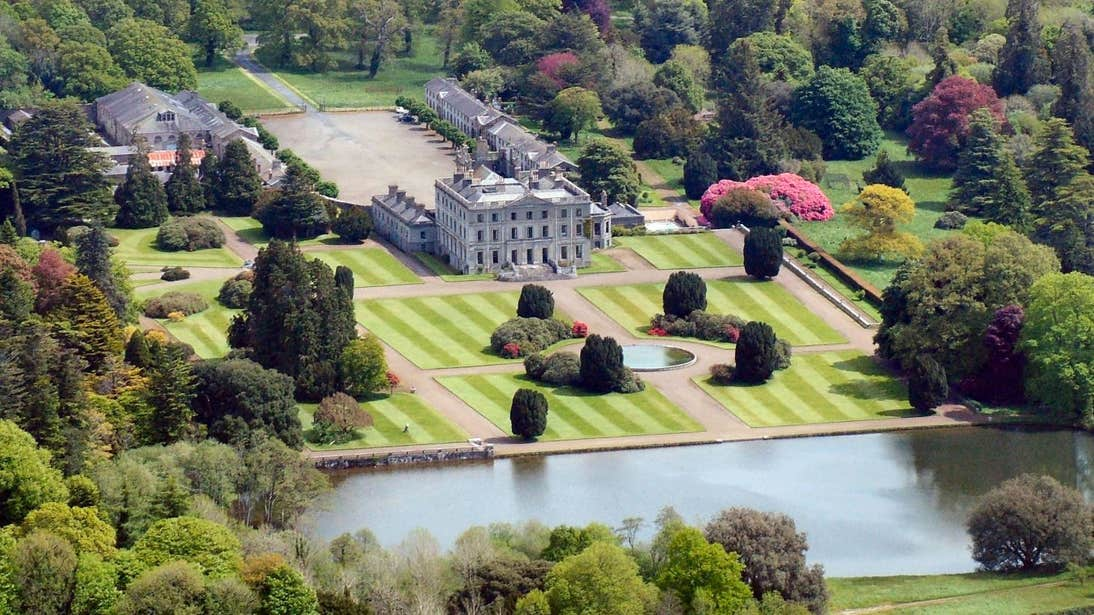 Aerial view looking back across picturesque Curraghmore House and Gardens in County Waterford.