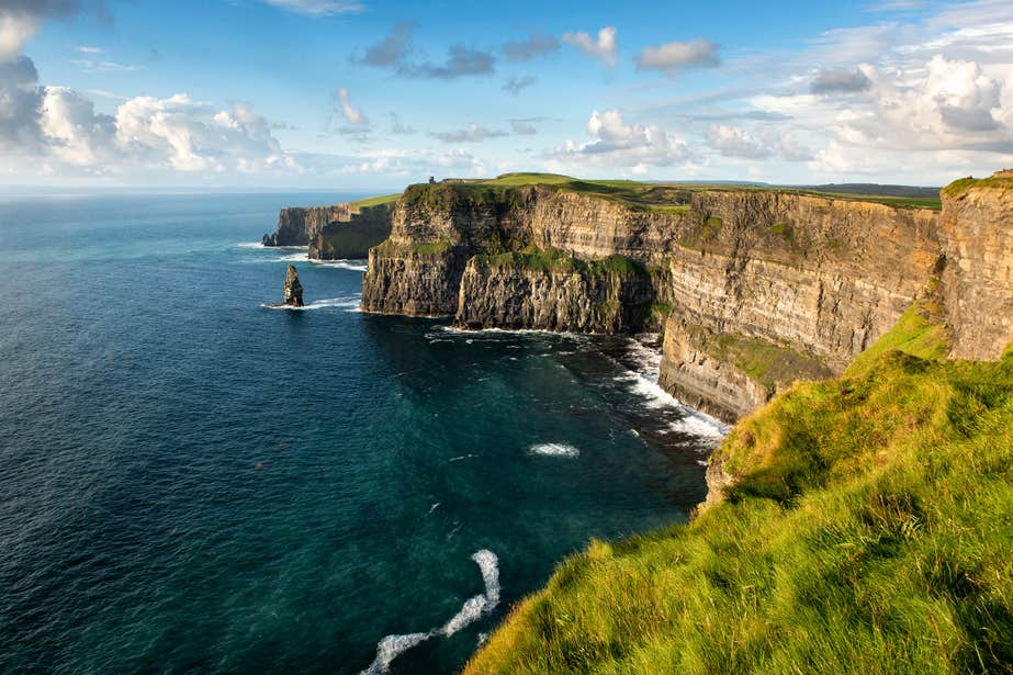 The Cliffs of Moher in County Clare on a sunny day