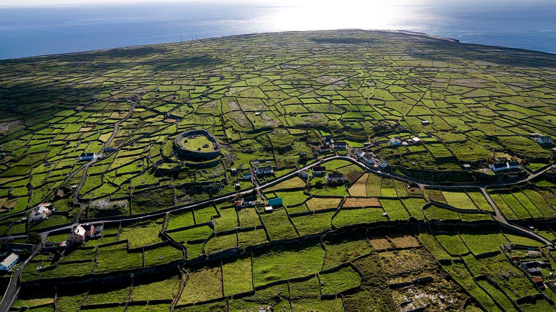 An aerial view of fields on Inishmaan, Aran Islands, Galway