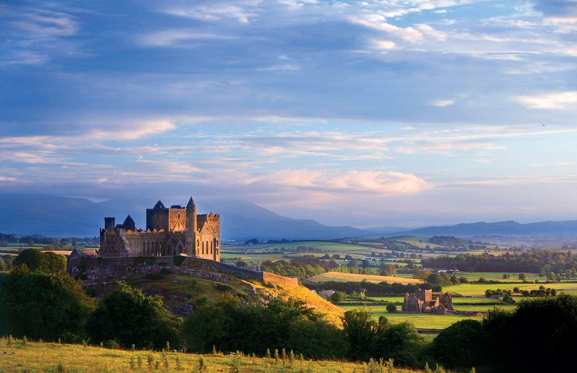 Blue skies and open green fields near The Rock of Cashel, Tipperary
