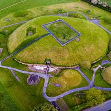 An aerial shot of Knowth, Boyne Valley, Meath