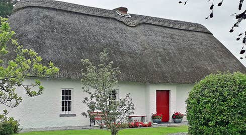 Thatched cottage in Callan County Kilkenny birthplace of Blessed Edmund Rice