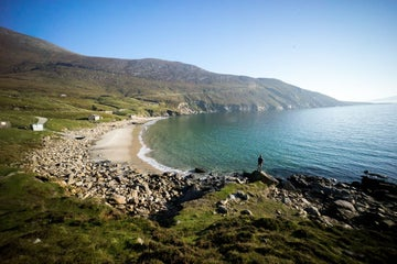 View of the beach and water in Achill Co Mayo